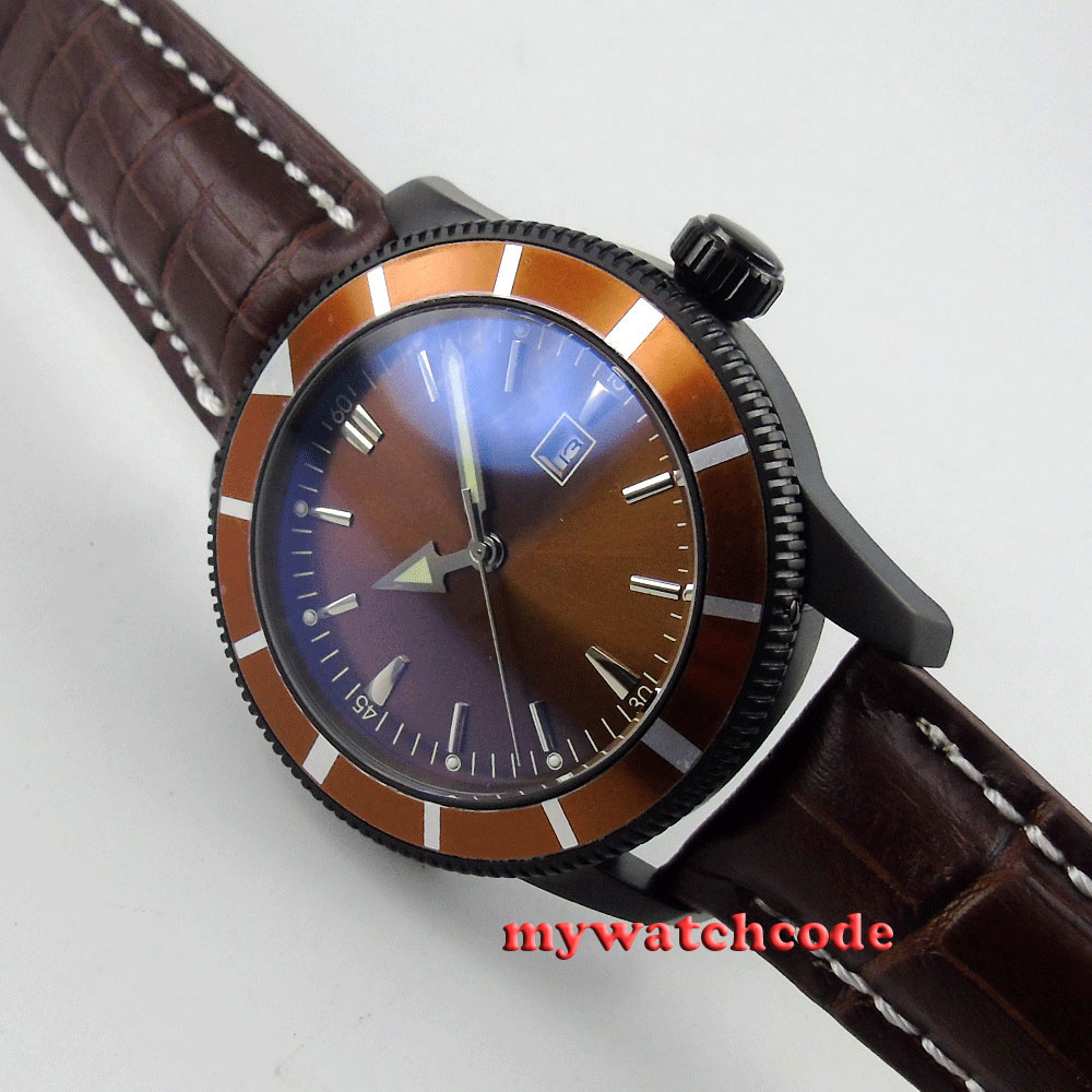 46mm coffee dial coffee case automatic movement mens watch 1846mm coffee dial coffee case automatic movement mens watch 18