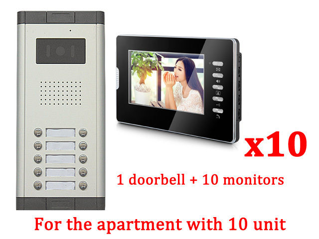 Apartment 10 Units Wired Video Door Phone Audio Visual Entry Intercom System my apartment