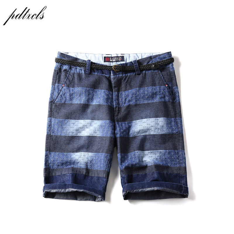 PDTXCLS 2018 Summer striped denim shorts male five-cent pants for the trend of the trend personality 100% Cotton