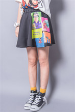 Fashion street HARAJUKU cartoon pattern glue high waist puff skirt half-length  female