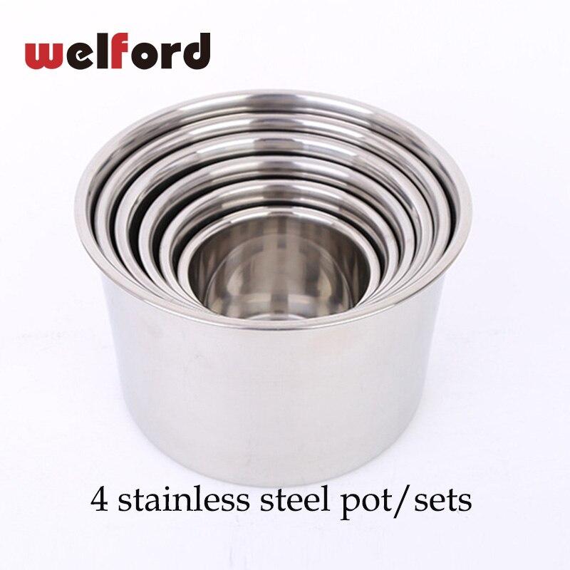 4pcs/set Heating Pot Coffee Milk Mugs Cup Pots Stainless Steel Instant Noodles Egg Soup Cooking Pot Kitchen 14 16 18 20CM pots