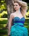 2016 Luxury Feather Homecoming Dresses Blue Sparkly Fully Nice Beads Crystal Prom Dress Party Queen High School