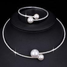 Fashion Simulated Pearl Bridal Jewelry sets For Women Adjustable Choker Earring Necklace Bracelet Crystal Wedding Jewelry Gift(China)