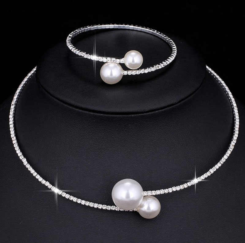 Fashion Simulated Pearl Bridal Jewelry sets For Women Adjustable Choker Earring Necklace Bracelet Crystal Wedding Jewelry Gift