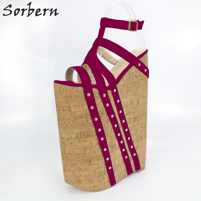 Sorbern Wedge Heels Sandals Women Ladies Shoes Summer Style Sandals Ladies Open Heels 35cm Heels Plus Size 4-15 Sandale Femme цена 2017