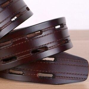 Image 5 - 100% Hohe Qualität Echtes Leder Gürtel für Männer Marke Strap Männlichen Pin Schnalle Phantasie Vintage Jeans Cowboy Cintos