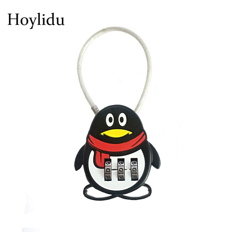 1 PCS Zinc Alloy Luggage Password Lock Cartoon Penguin 3 Dial Digit Combination Anti-theft Padlock Bag Accessories For Suitcase