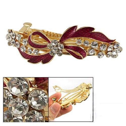 Hot Rhinestone Detail Red Bowknot Metal Hair Clip Barrette Gold Tone