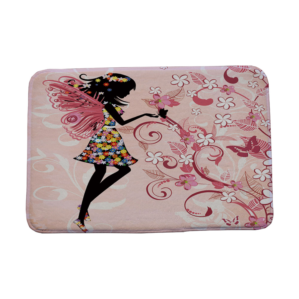 Miracille Waterproof Anti-Slip Beautiful Butterfly Girl Floor Mat Carpets Bedroom Rugs Decorative Stair Mats Home Decor Crafts