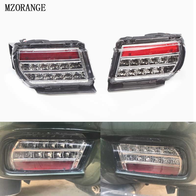 MZORANGE LED White Shell Rear Bumper Light For Toyota Land Cruiser Prado 2009-2017 LC150 4000 3500 2700 Brake Light Fog Lamp 2 pcs pair rear bumper lights without bulbs tail fog lamps for toyota land cruiser prado fj120 2002 2009