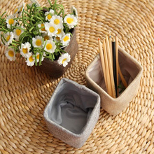 New Mini small  linen pen holder desktop boxes cloth art brush pot Photo props Simple and lovely key box little pen holders