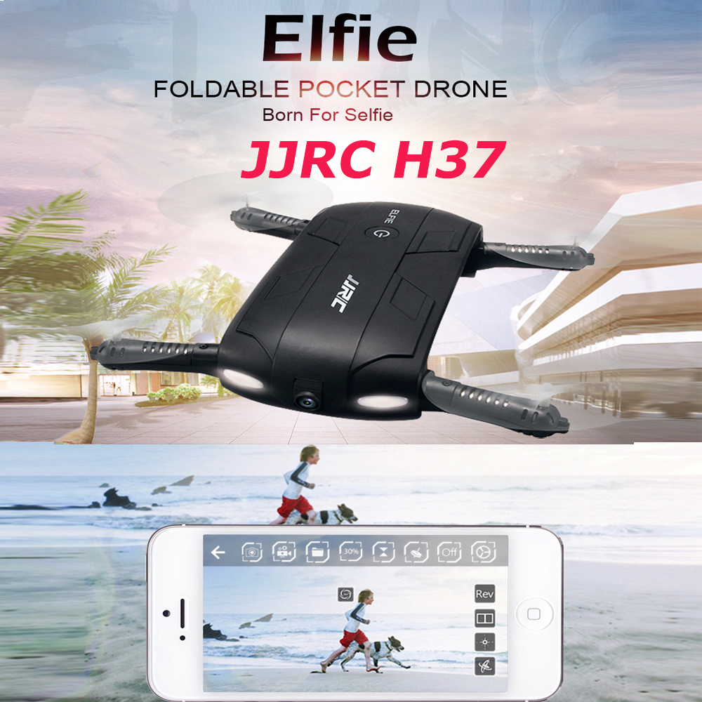 Pocket Selfie Drone Quadcopter, JJRC H37 Elfie Pocket Fold Portable Photography Wifi FPV With 0.3MP Camera Phone Control RC Dron