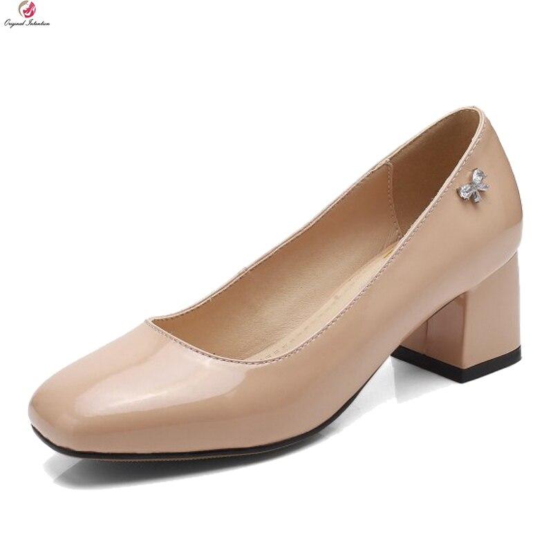 Ayakk.'ten Kadın Pompaları'de Orijinal amaçlı yeni kadın pompaları şık kare ayak kare topuklu pompalar zarif siyah bej kahverengi ayakkabı kadın artı abd boyutu 3 10'da  Grup 1