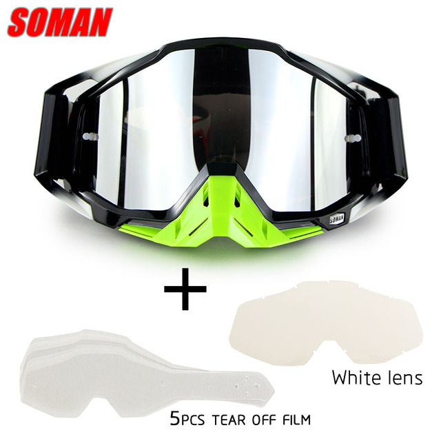 SOMAN Motorcycle Goggles Glasses Motocross Goggle MX Off Road Oculos Racing Sunglass Motorbike Eyewear 5pcs Tear Off Film&1 Len