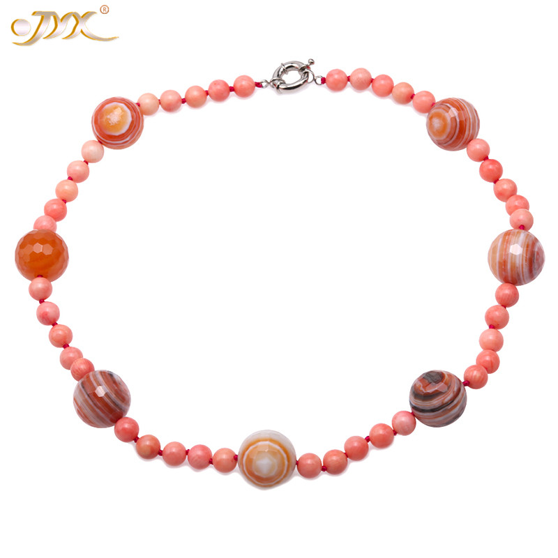 JYX Delicate universe style Coral and cut Agate Necklace jewelry 8.5mm round sea bamboo coral 20 jewelry women mother giftJYX Delicate universe style Coral and cut Agate Necklace jewelry 8.5mm round sea bamboo coral 20 jewelry women mother gift