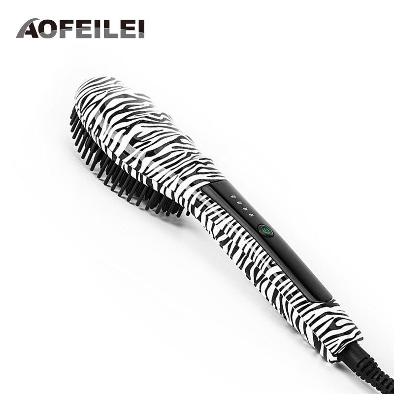 2017 New Peine Alisador Hair Comb Brush font b Straightener b font Professional Fast Ceramic Electric