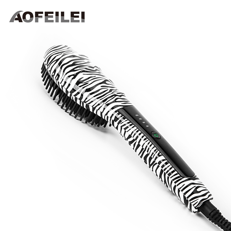 2018 New Peine Alisador Hair Comb Brush Straightener Professional Fast Ceramic Electric Straightling Styling Tools Flat Iron