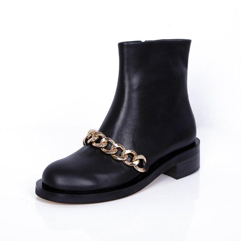 2018 Лидер продаж Европейский Стиль зима осень Для женщин Черная кожаные полусапожки Низкий каблук металлические цепи боковой молнией женск