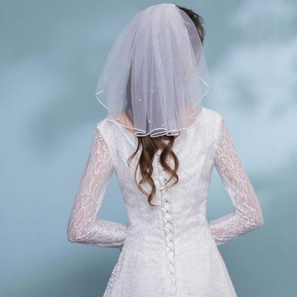 Минималистичная свадебная вуаль белого цвета и слоновой кости, однослойная свадебная вуаль, элегантные аксессуары для невесты, короткая вуаль для волос, Декор