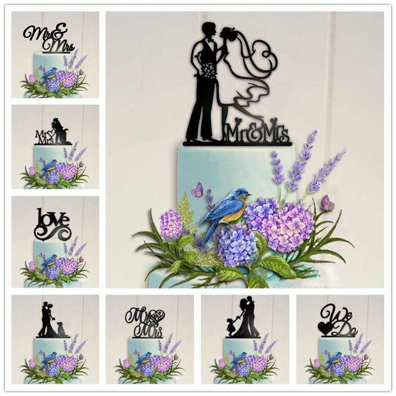 Acrylic Wedding Cake Topper Bride Groom Mr Mrs Love Black Cake Toppers Wedding Decoration Mariage Party Supplies Adult Favors