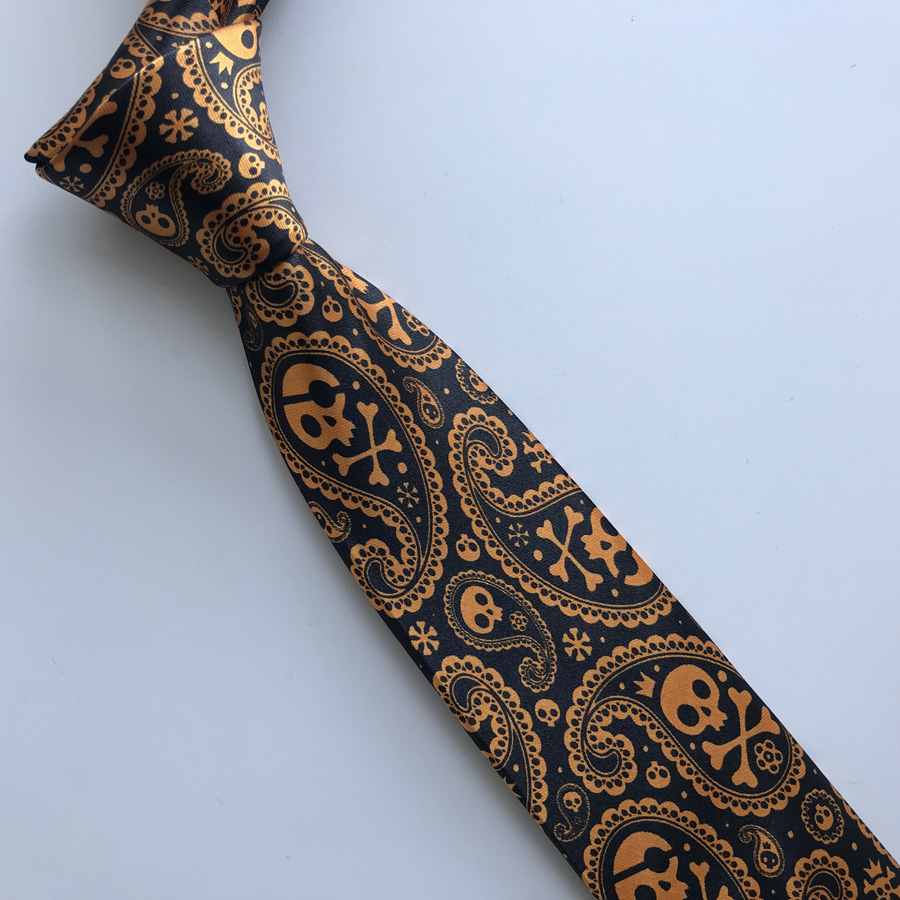 Designer Personality Necktie Men's Fashion Printed Ties For Halloween Party Black With Golden Orange Skull Pattern