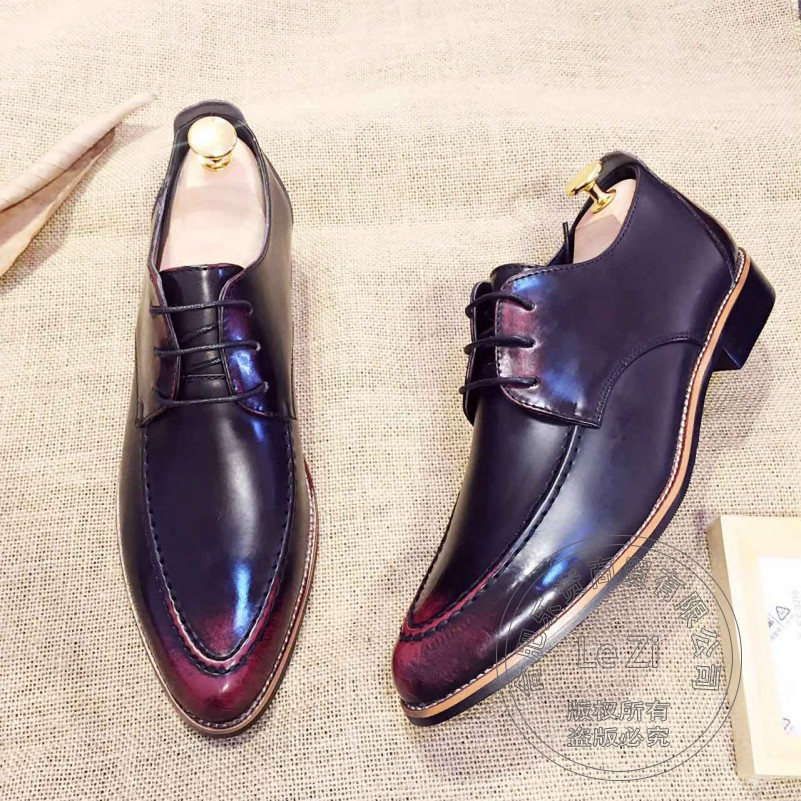 ФОТО Thin Show Temperament Gentleman Prom Hi Street Wine Red High-end Men Dress Shoes  Soft Leather Leather  Cow Split Tuxedo Shoes