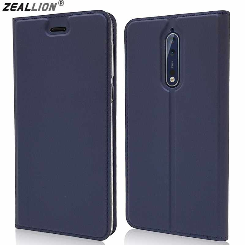 ZEALLION For Nokia 1 2 3 5 7 Plus 9 8 scirocco 6 2018 Luxury Slim Magnetic Voltage PU Leather Card Slot Flip Stand Case Cover