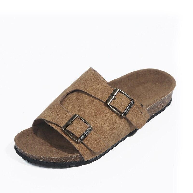 Été femmes gladiateur pantoufles daim boucle tongs liège plate-forme diapositives femme confortable décontracté chaussures de plage 9