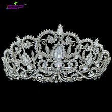 SEPjewelry High Quality Clear Crystals Rhinestone Tiara Bridal Wedding Crown for Women Wedding Hair Jewelry Accessories