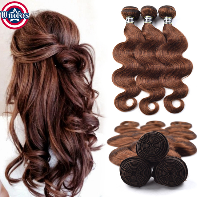 Brown Brazilian Body Wave Virgin Hair Color 4 Chocolate Hair Weave