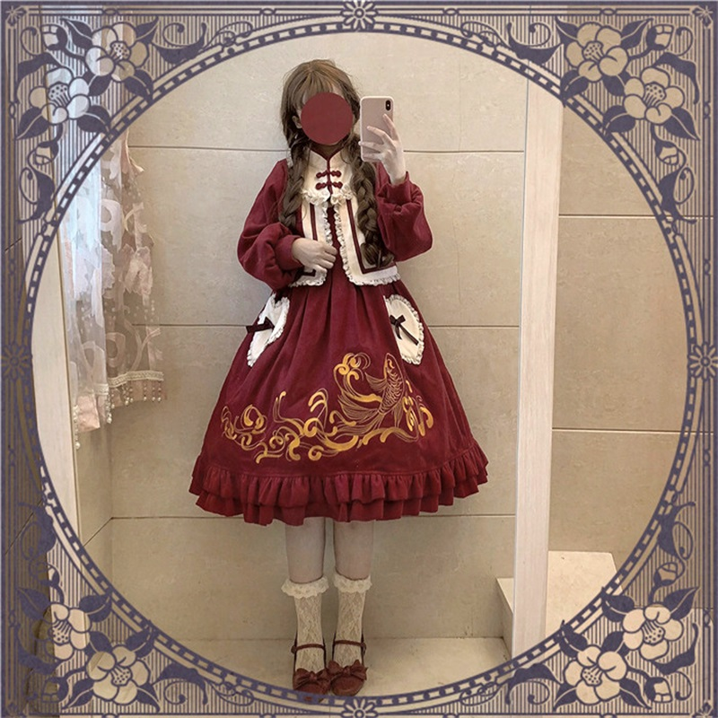 Chinese Style Lolita Lace Love Bow Pocket Design Fancy Carp Embroidery Dress Flouncing Princess Japanese Girls
