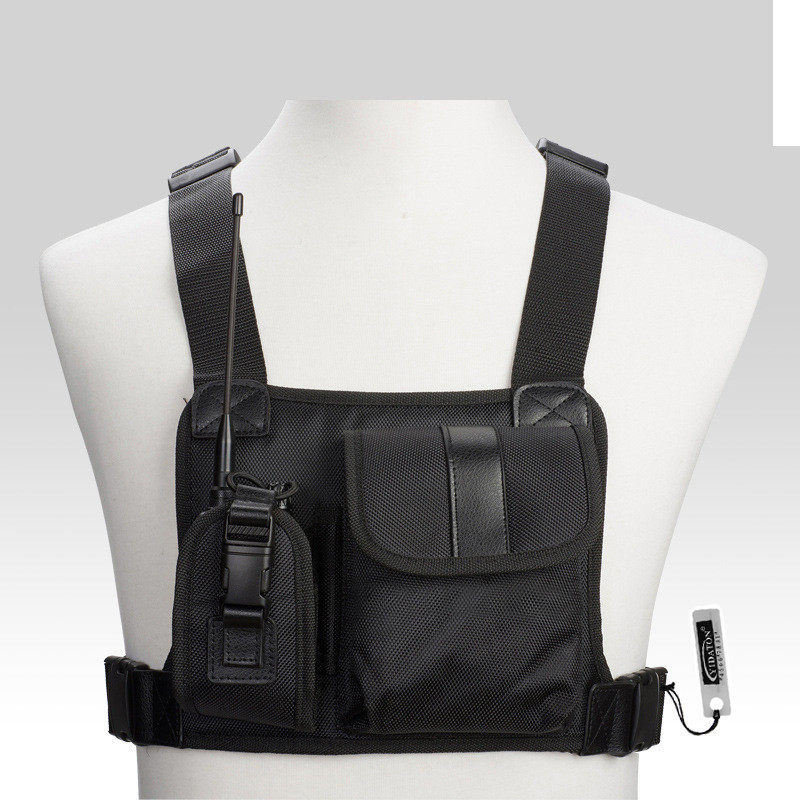 Untuk Baofeng Radio Chest Harness Chest Front Pack Pouch Holster Vest Rig Carry Cade untuk Baofeng TYT Wouxun Motorola Walkie Talkie