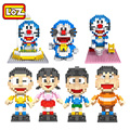 LOZ NEW Doraemon Toys Limited Collection Building Blocks Toys Nobita Nobi Takeshi Shizuka Suneo Action Figures Anime