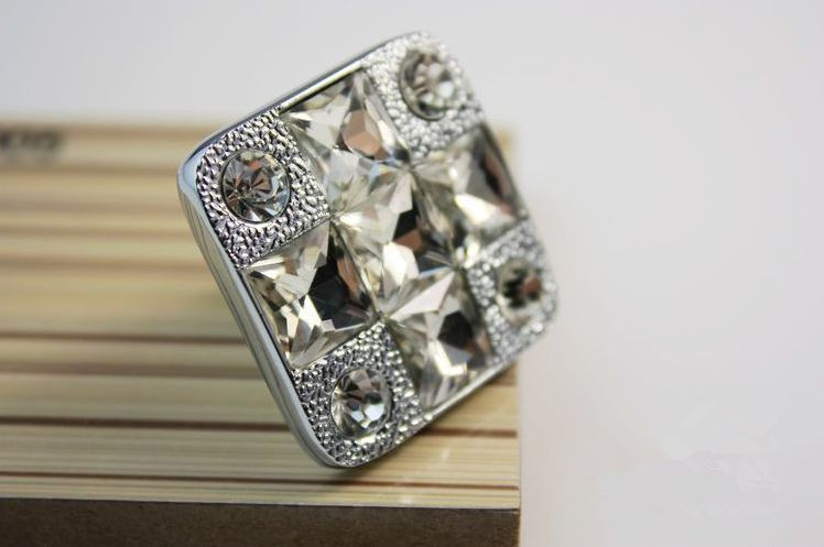 цены  Sparkle Glass Knobs / Crystal Dresser Drawer Knobs Pulls Handles Clear Square / Modern Cabinet Knobs Pull Kitchen Hardware