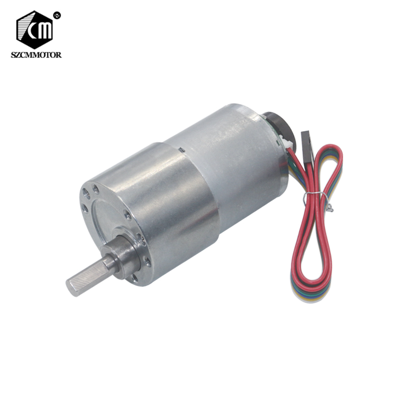 37mm Diameter All Metal Gear Box 12v 24v DC Gear Motor with Encoder 7RPM to 1600 rpm Gearmotor motop High Torque Eccentric Shaft цена