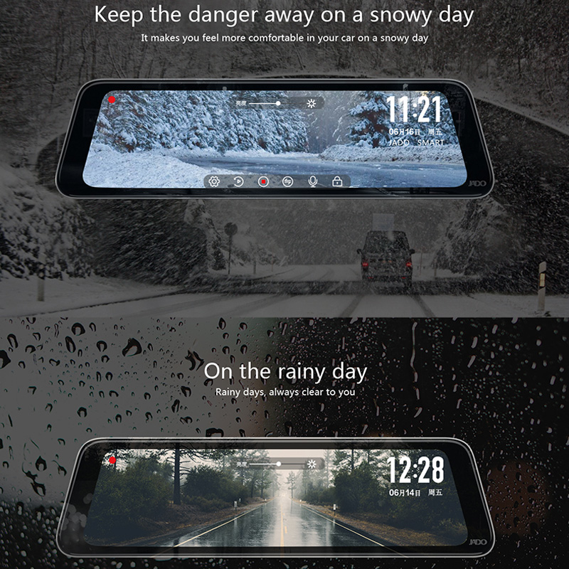 JADO D230 Flux rétroviseur Dvr dash Caméra avtorégistrateur 10 IPS écran tactile Full HD 1080 P Dvr de voiture dash cam vision nocturne - 3