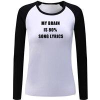 IDzn Women S My Brain Is 80 Song Lyrics Red Black Raglan T Shirt Cotton Patchwork