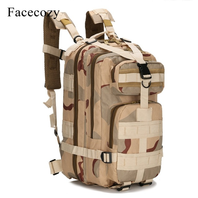 Facecozy Outdoor Hiking Military Tactical Backpack Camouflage 600D Nylon Trekking Travel Camping Bag 25-30L Sports Rucksack