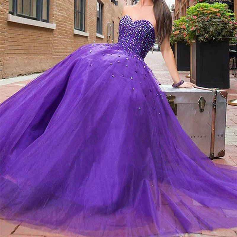 CYF122 Vestido de festa Sparkly Crystal Tulle Prom Dresses 2016 Puffy A Line Long Evening Party