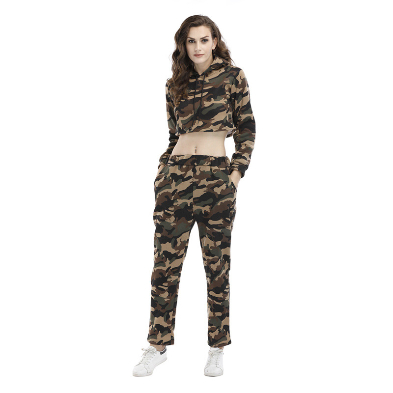 CALOFE Brand Camouflage Womens Tracksuit Military Style Sports Running Fitness Suit Sexy Long Sleeve Top+Elastic Waist Panties