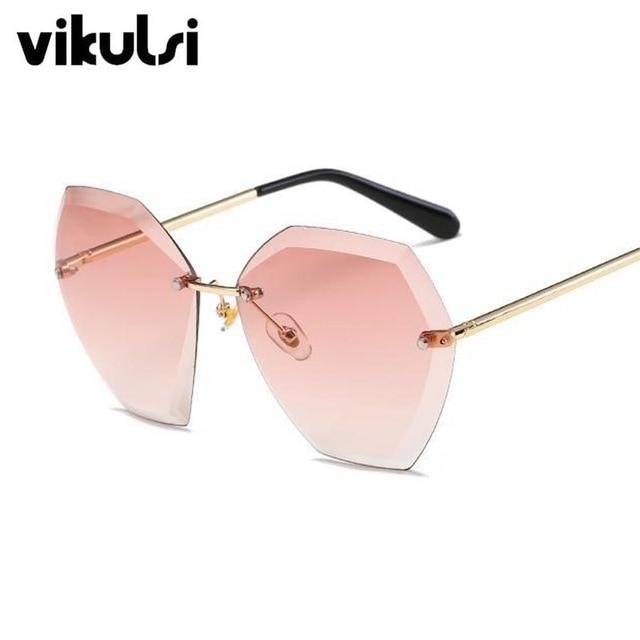 2018 Sans Monture Cat Eye lunettes de Soleil Femmes 2017 Conduite De Luxe Marque  Designer Lunettes ef1410d59592