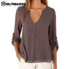 Owlprincess Новая Осень Мода Женщины глубокий v шеи кнопка с длинным рукавом топы шифон футболки твердые элегантный Топ повседневная блузка