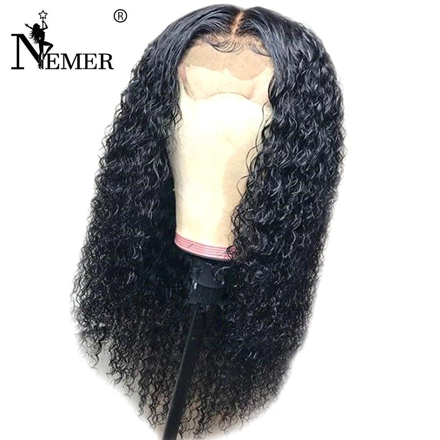 NEMER 13x6 Dentelle Avant de Cheveux Humains Perruque 130% Densité Pour Les Femmes Noires Brésilienne Remy Cheveux Pré-Pincées délié normal avec des Cheveux de Bébé