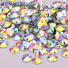JUNAO High Quality 10 12 16 18mm Sewing Crystal AB Rivoli Rhinestones Flat Back Resin Gems Stones Sew On Round Strass Applique(China)