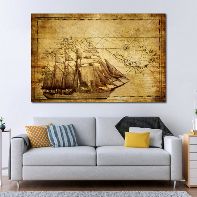 Old Nautical Sailing Map Wallpaper Living Room Decor Home Wall Art Wood Frame Fabric Posters