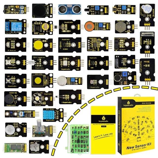 새로운 포장! arduino 프로그래밍 교육 (37pcs 센서) + 37 프로젝트 + pdf + 비디오 용 keyestudio37 in 1 센서 키트