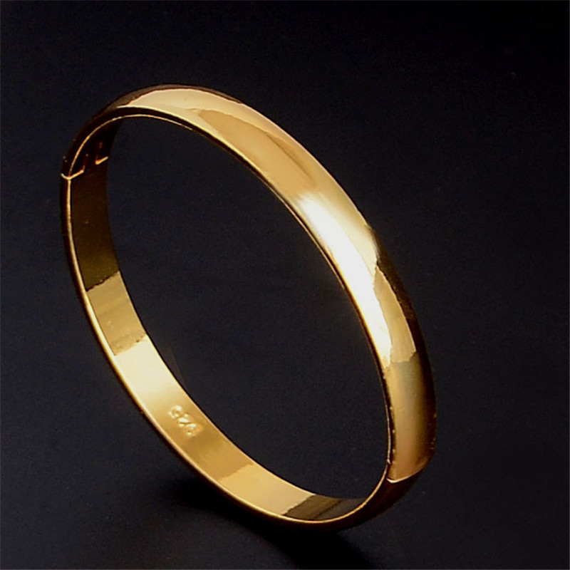 SHUANGR Wholesales 1pc Gold-Color Smooth Round Bangles Classic Women's Jewelry Closed Bangle Bracelet for Women TZ220