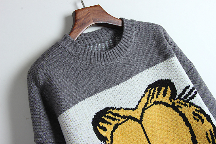 Long Femme Sueter Jacquard Korean Sweater 2018 Loose Cute Pullover High Thick Knitted Quality 2 Women Garfield Pull 1 Autumn Mujer BwZqatw