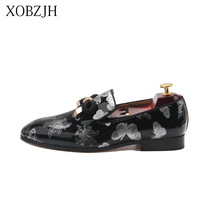 XOBZJH Designer Shoes Men High Quality Italian Men Shoe Luxury Wedding Party Genuine Leather Slip On Loafers Shoes Big Size