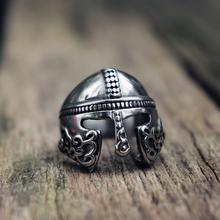 EYHIMD Viking Scandinavian Warrior Helmet Silver Biker Stainless Steel Ring Mens Nordic Mythology Amulet Jewelry